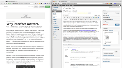Screenshots of Medium and WordPress interfaces