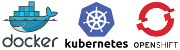 Docker, Kubernetes, and OpenShift logos