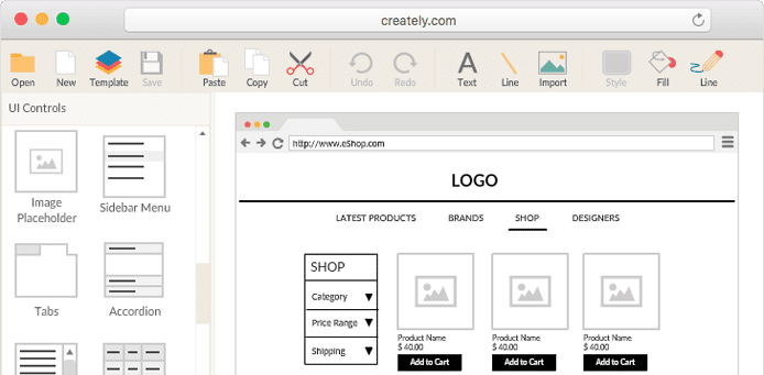 Screenshot of Creately wireframe software UI
