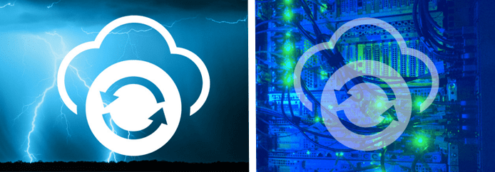 Collage of a thunderstorm, a server, and ViaWest's diaster recovery logo