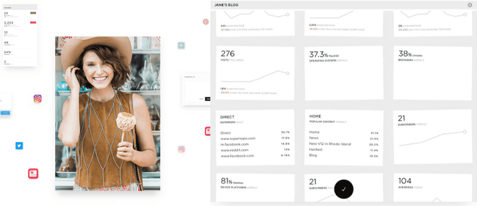Collage of Squarespace site owner and screenshots of site statistics