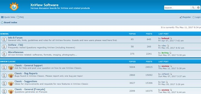 Screenshot of XnView forums