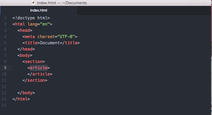Screenshot of HTML page in text editor