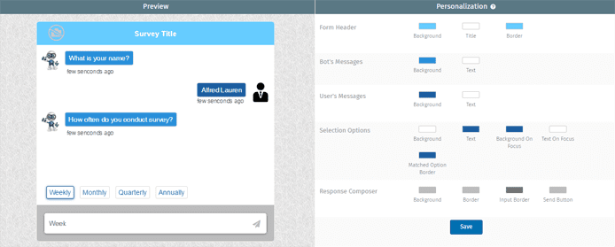 Screenshot of the design tab in the Conversation Forms UI