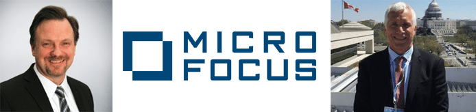 Collage of Geoff Webb's and Mark Levy's headshots and the Micro Focus logo