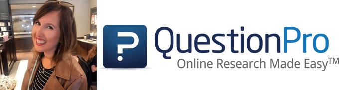 Lindsey Rapose's headshot and QuestionPro logo