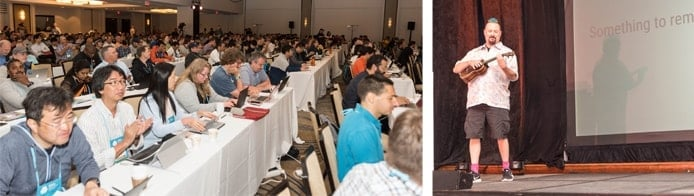 Images of conference attendees and speaker with ukulele