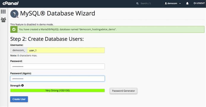 MySQL Database Wizard screenshot