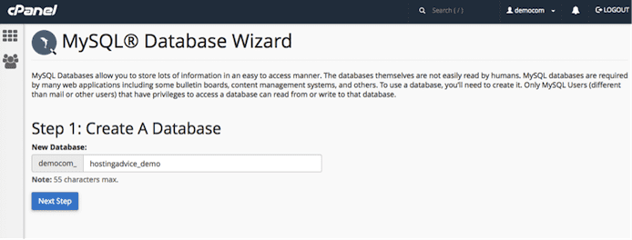 screenshot of MySQL Database Wizard