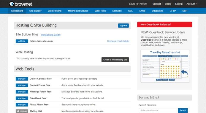 Screenshot of Bravenet dashboard