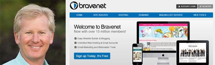 Photo of Bravenet Founder and CEO Dave Shworan with screenshot of website