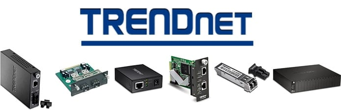 TRENDnet logo with images of products
