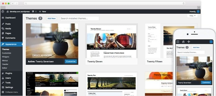 WordPress screenshots for desktop and mobile