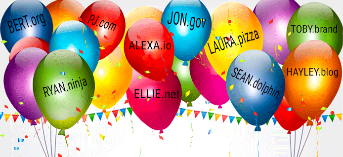 Celebratory Domain and Baby Name Balloon Graphic