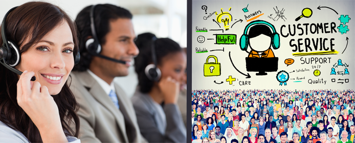 Collage of customer service reps and graphic depicting the flow of customer support