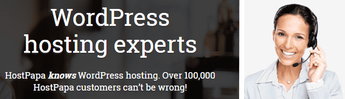 Photo of a HostPapa customer service rep and textbox noting the number of HostPapa's WordPress customers