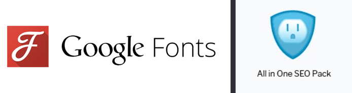 Google Fonts and All in One SEO Pack logos