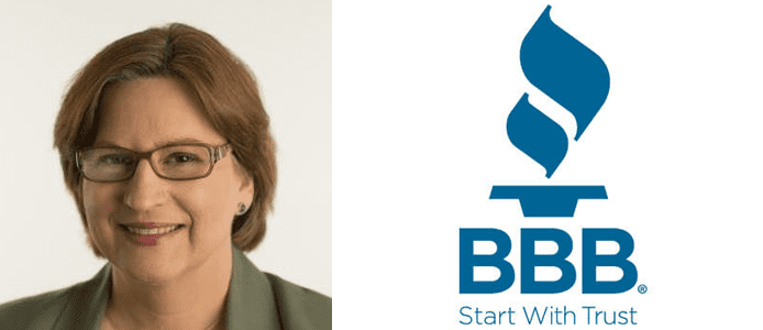Katherine Hutt's headshot and the BBB logo