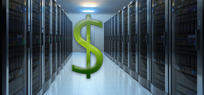 Photo of a server farm with a dollar sign superimposed over it