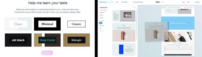 Screenshots of Wix ADI and site builder