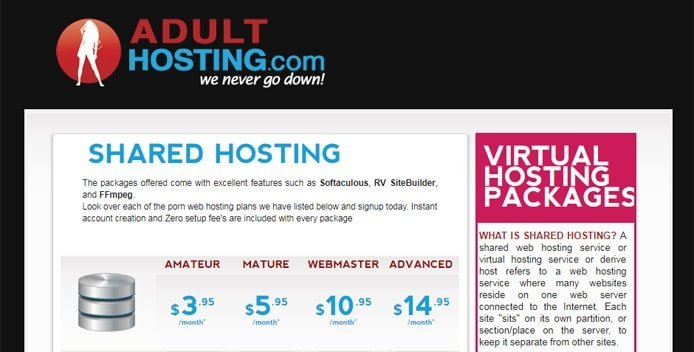 Screenshot of AdultHosting.com shared hosting price tables
