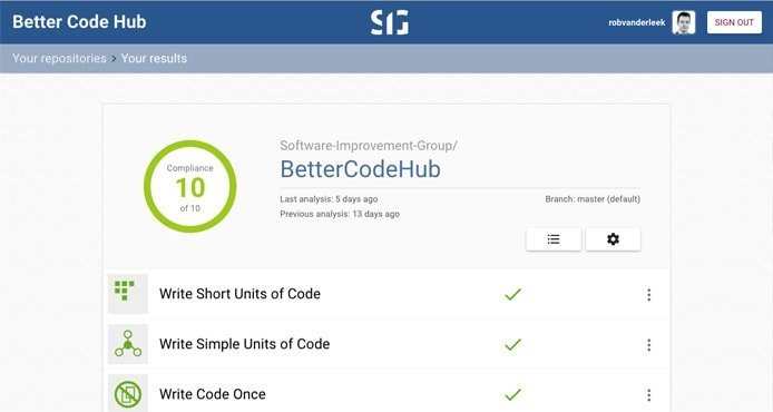 Screenshot of Better Code Hub