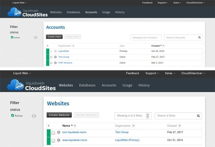 Screenshots of Liquid Web Cloud Sites control panel