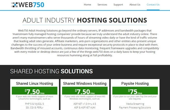 Screenshot of Web750 shared hosting price tables