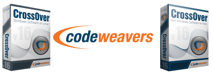 Photo of CrossOver product boxes and the CodeWeavers logo