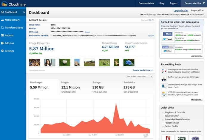 Screenshot of the Cloudinary dashboard