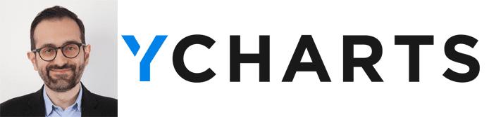 Ara Anjargolian's headshot and the YCharts logo