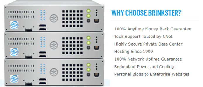 Photo of a server stack and text stating reasons to choose Brinkster for hosting