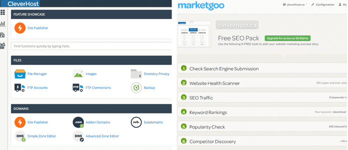 Screenshots of CleverHost's control panel and marketing suite