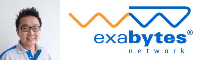Chan Kee Siak's headshot and the Exabytes logo