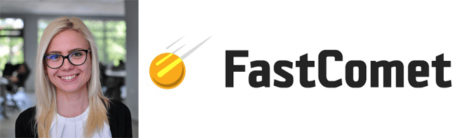 Elena Yovcheva-Tileva's headshot and the FastComet logo