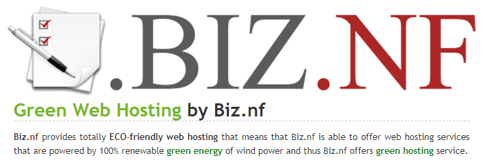 Biz.nf logo and a statement about green hosting