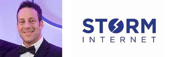 Salim Benadel's headshot and the Storm Internet logo