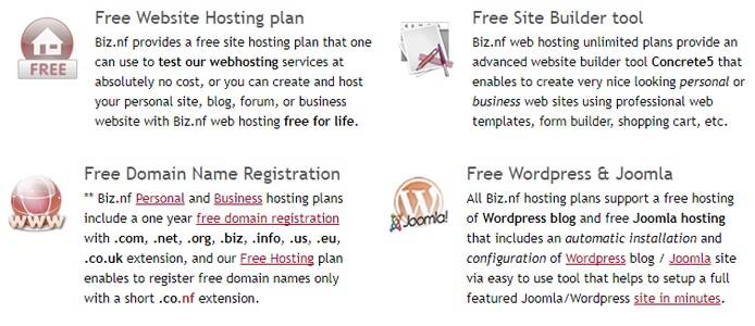 List of some of the free web solutions offered by Biz.nf
