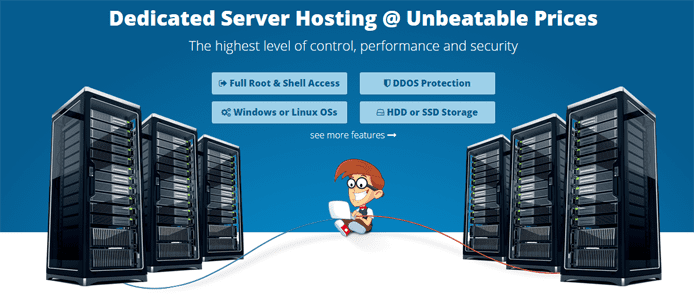 Screenshot depicting THCServers's new dedicated hosting option