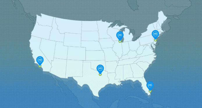 Photo of IO Zoom datacenter locations on a US map