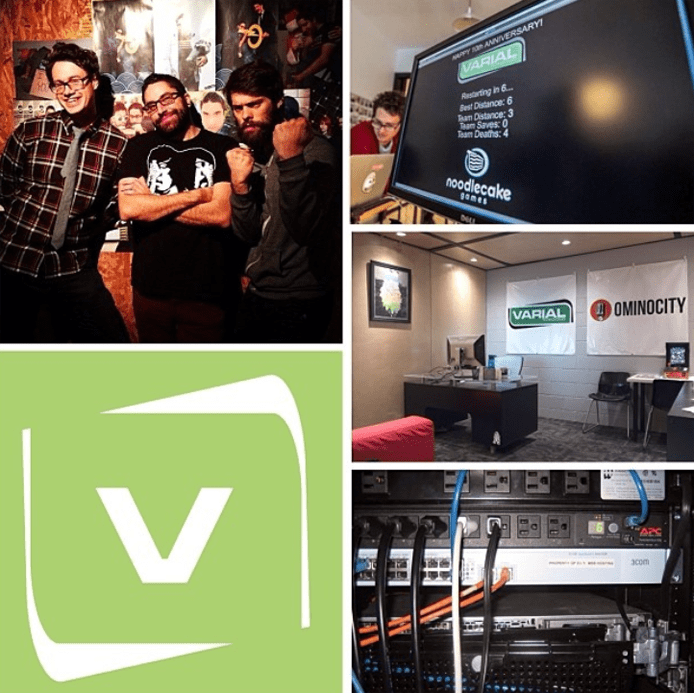 Collage of the Varial team, office, server, and logo