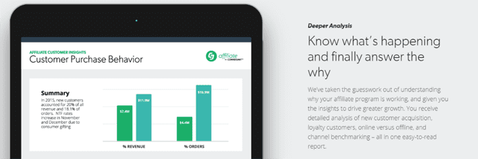 Screenshot of CJ Affiliate analytics interface