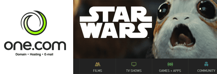 Collage of the One.com logo and a screenshot of the StarWars.com homepage