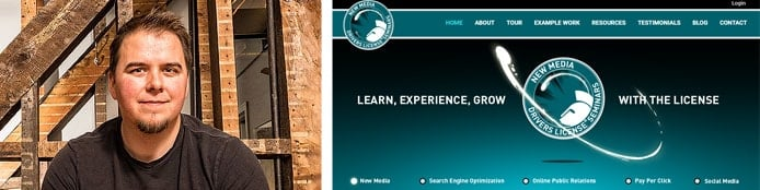 Image of Instructor Ross Johnson with a screenshot of the New Media Drivers License website