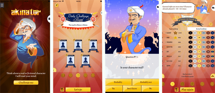 Screenshot of the mobile version of Akinator the Web Genie
