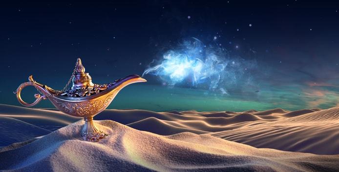 Illustration of a lamp on a desert dune