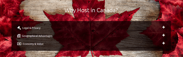 Screenshot of the the Websavers.ca page noting the benefits of Canada-based hosting