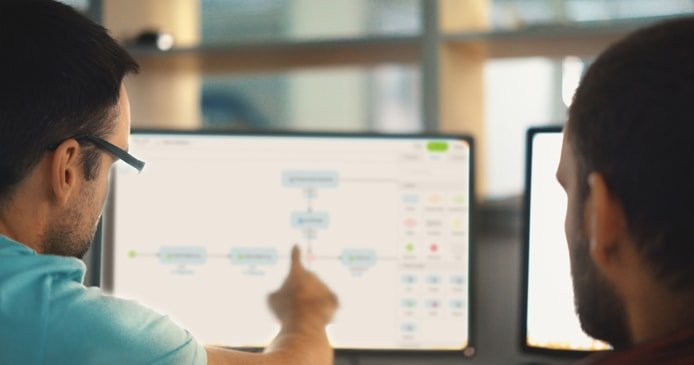 Photo of two people collaborating with Mendix