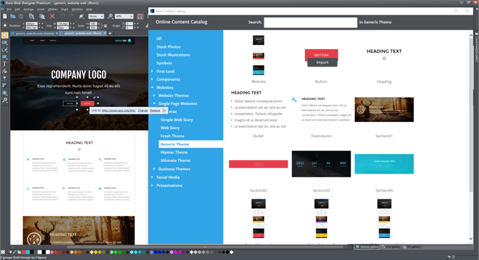 Screenshot of Xara's web design interface