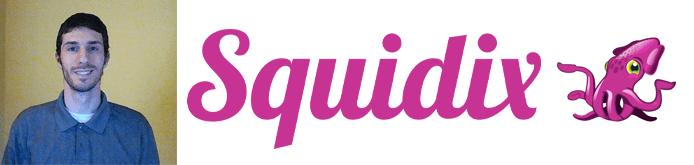 Sam Barrow's headshot and the Squidix logo